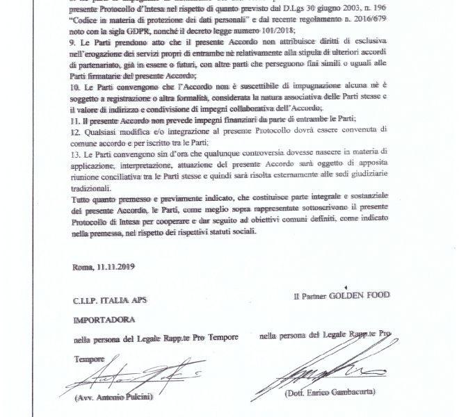 PROTOCOLLO DI INTESA CILP ITALIA, GOLDEN BOSSA FOOD_page-0004