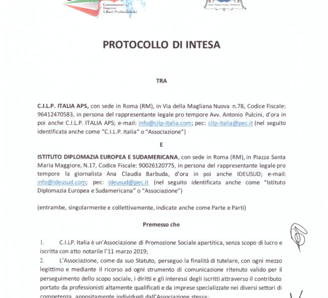 PROTOCOLLO DI INTESA, PAG. 1