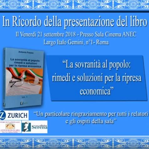 """Presentazione Libro """"La Sovranità al popolo"""""""