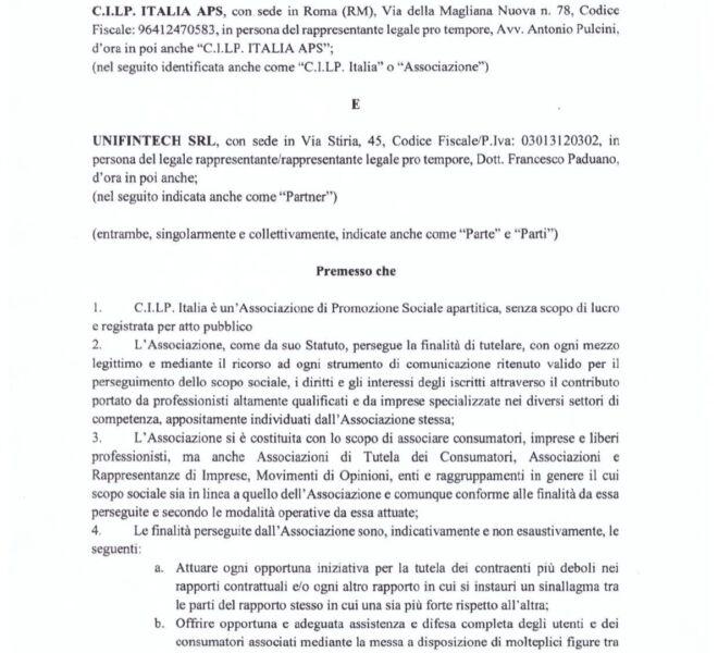 protocollo cilp italia,unifintech